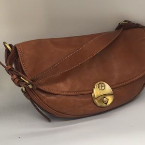 Francesco Biasia Italian cognac leather bag